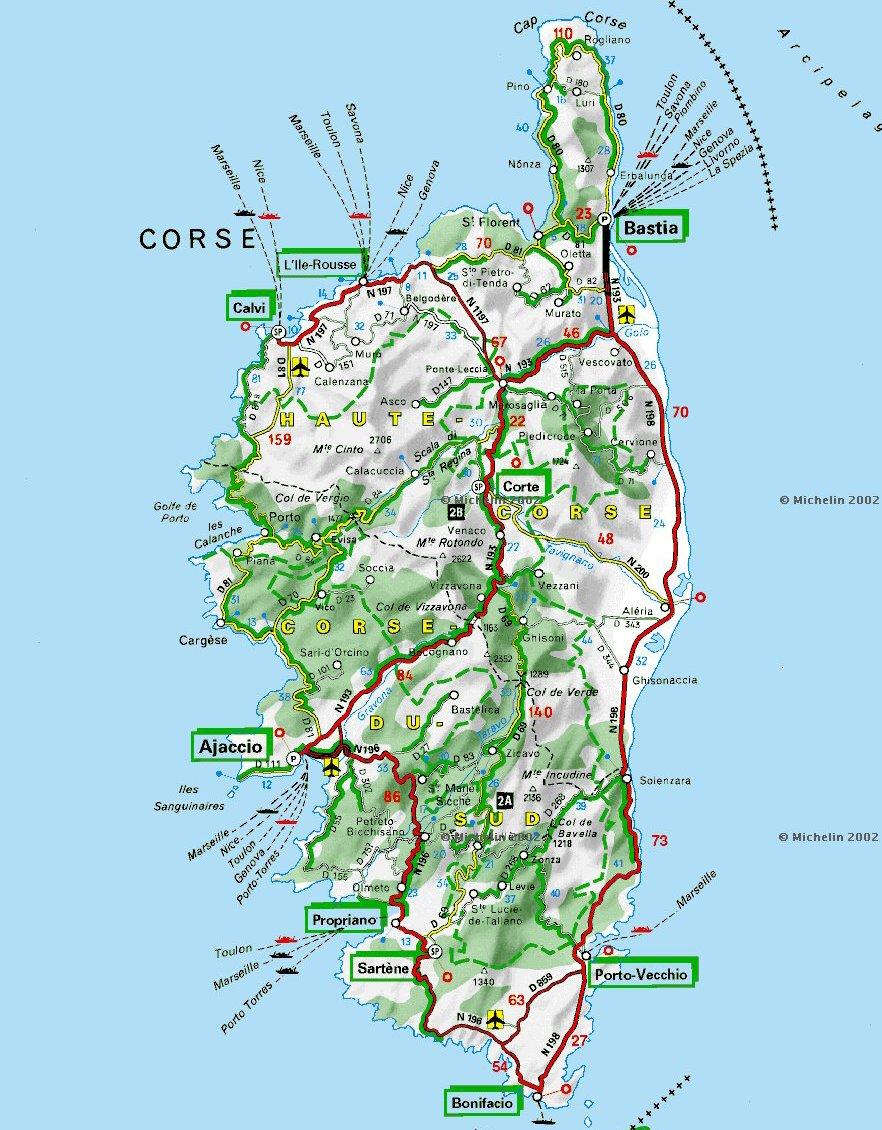 Mapa Turisticka Mapa Korsika